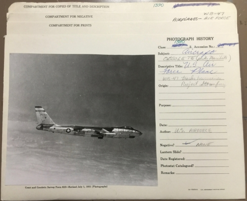 "An Air Force WB-47 used for weather reconnaissance as part of Project Stormfury. The photo library at NOAA Central Library has thousands of images stored in multi-pocket folders like this, with more or less information inscribed. The form is ""Coast and Geodetic Survey Form 623--Revised July 1, 1931."""