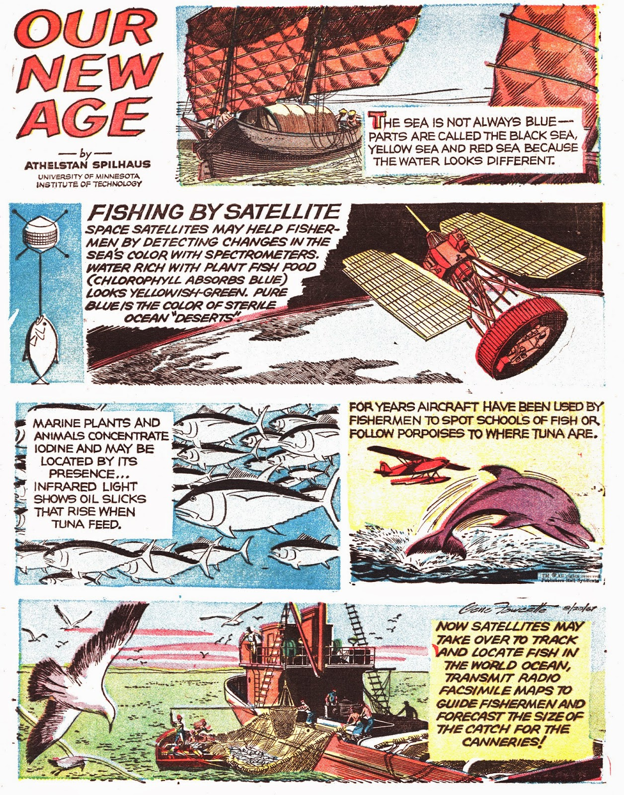 """Fishing by Satellite,""  Our New Age.  Text by Athelstan Spilhaus, drawn by Gene Fawcette.  First published July 23, 1967. Image from the collection of Ger Apeldoorn, posted at  The Fabulous Fifties ."