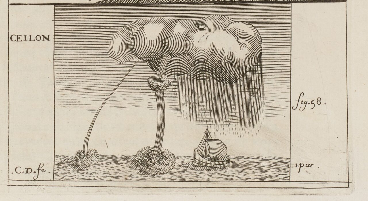 """A """"siphon,"""" the first published image of waterspout in Europe. Drawn by Balthasar de Monconys, based his observation of 31 December, 1648."""