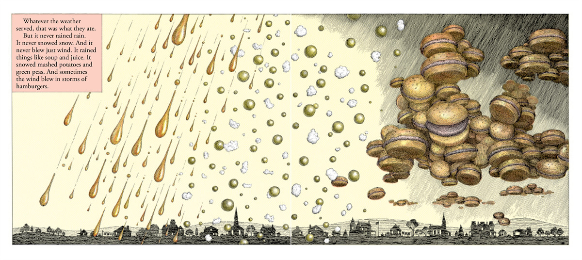 The weather in Chewandswallow before climate change. Illustration by Ron Barrett, image from  publisher's promotional website .