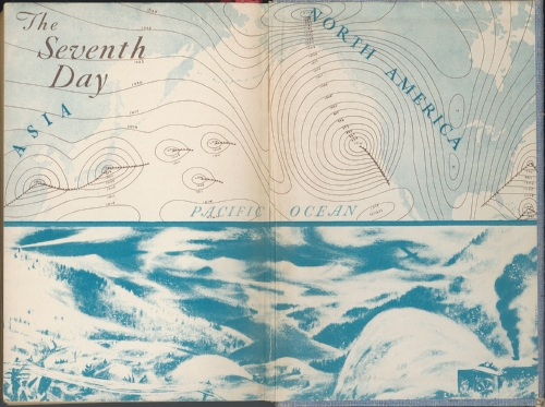"""Maria on her seventh day, viewed synoptically (top) and from the ground amidst the Sierras. Endpaper of the first edition of  Storm , a novel by George R. Stewart (Random House, 1941). Illustration is signed """"Steinberg."""""""
