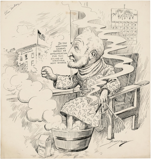 House Speaker Joseph Cannon threatens the funding for the US Weather Bureau after getting sick during an unusually cold May, 1907. Cartoon by Clifford Berryman, published in the  Washington Evening Star , May 25, 1907,  held by the US National Archives .