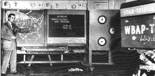 Harold Taft presents a television weather report, 1954. Image printed in the  Fort Worth Star-Telegram , Sept 29, 1991, Section E, page 8. (Scanned and posted online  here .)