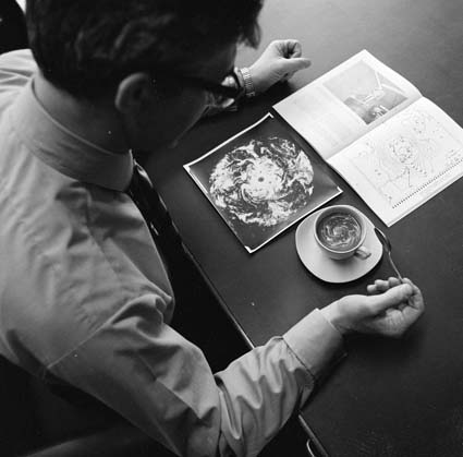 """""""Dr Tucker at work developing techniques for computer for weather forecasting in the southern hemisphere,"""" 1970. Produced by the Australian News and Information Bureau, via the  National Archives of Australia ."""