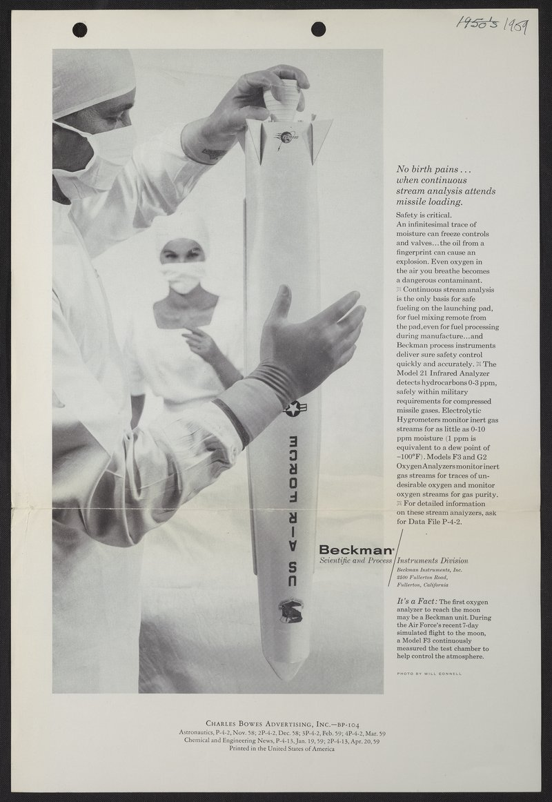 """No birth pains...when continuous stream analysis attends missile loading."" An advertisement for Beckman Instruments, 1959. Courtesy of  Science History Institute ."