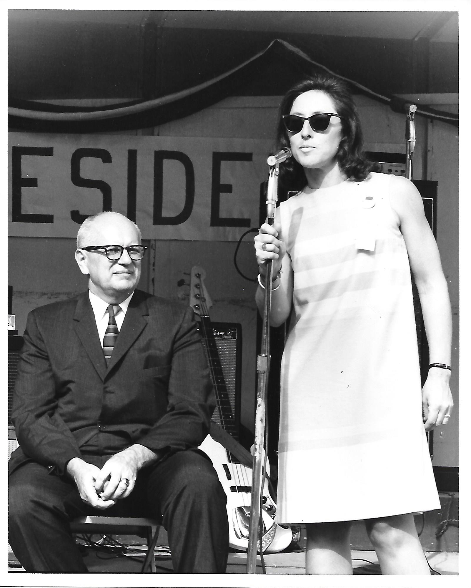 Summer, 1968Sonia Schorr Sloan - Introducing Mary Beth Yarrow at a rally in Wilmington, DE, along with Mayor John Babiarz, one of the few office holders who would publicly support anyone running against the sitting President.