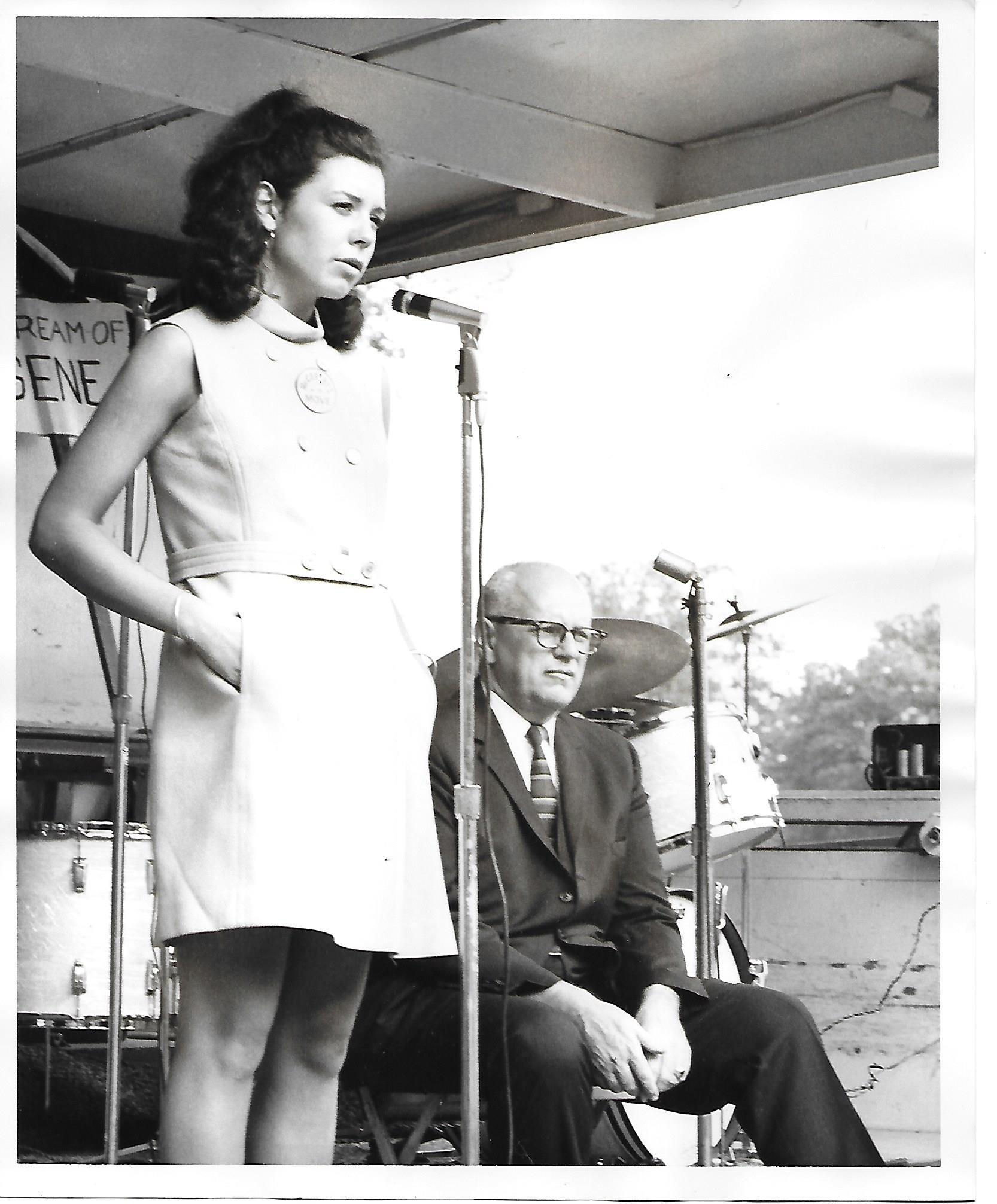 Summer, 1968Mary Beth Yarrow - Speaking in Rockford Park, Wilmington Delaware, standing next to Mayor Babiarz.