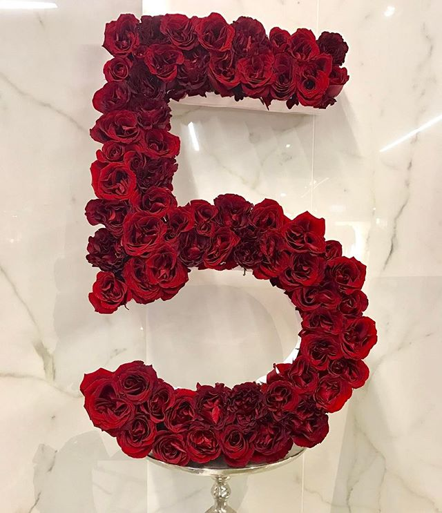 "Custom ""5"" made out of Heart Roses for 5th Anniversary arrangement. ❤"
