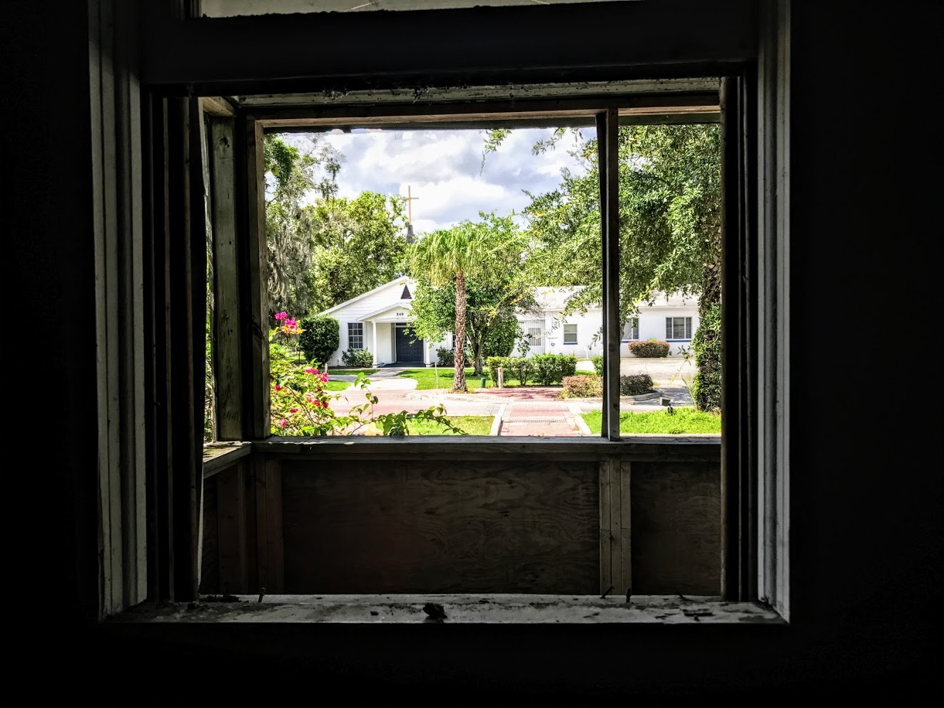 A look out of The Historic Thomas House to St. Lawrence Church that sits across the street. (Photo courtisy Dr. Scot French)