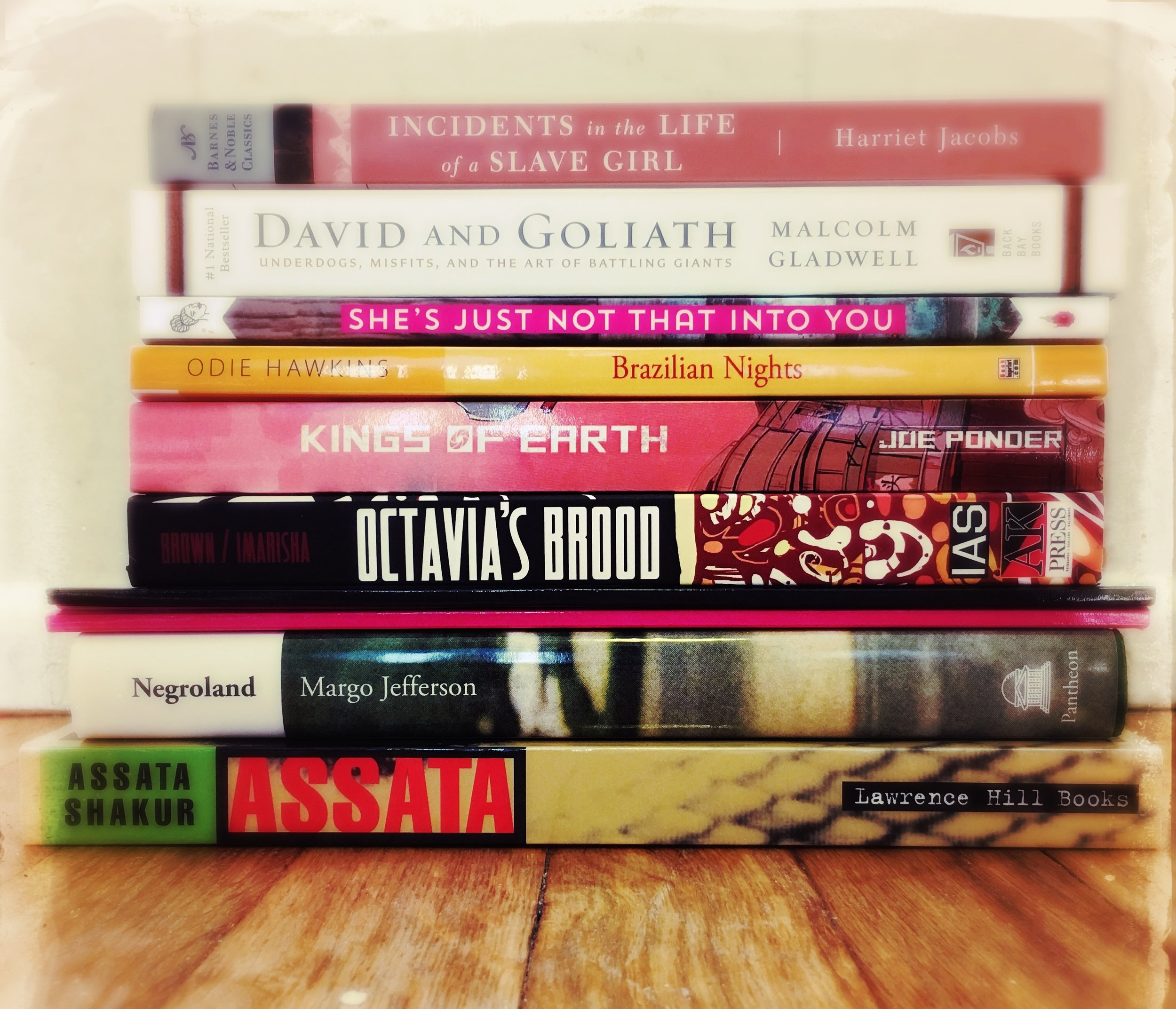 Stack of books by Black authors
