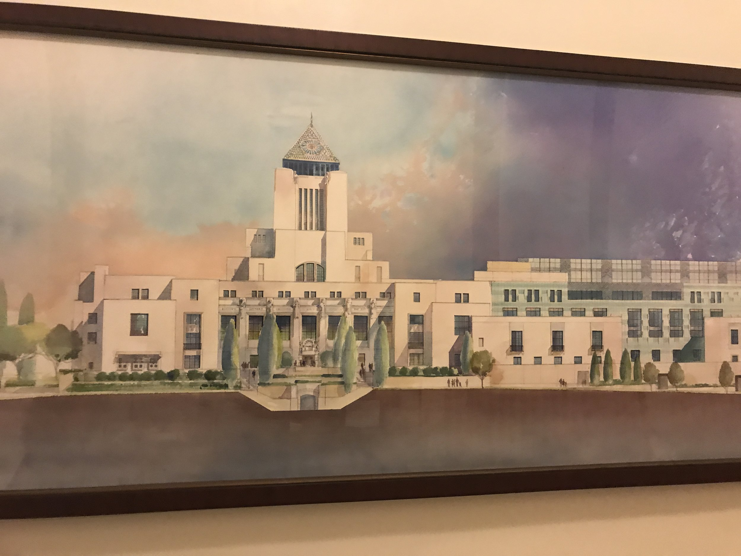 Painting of the Los Angeles Central Library that hangs in the Central Library