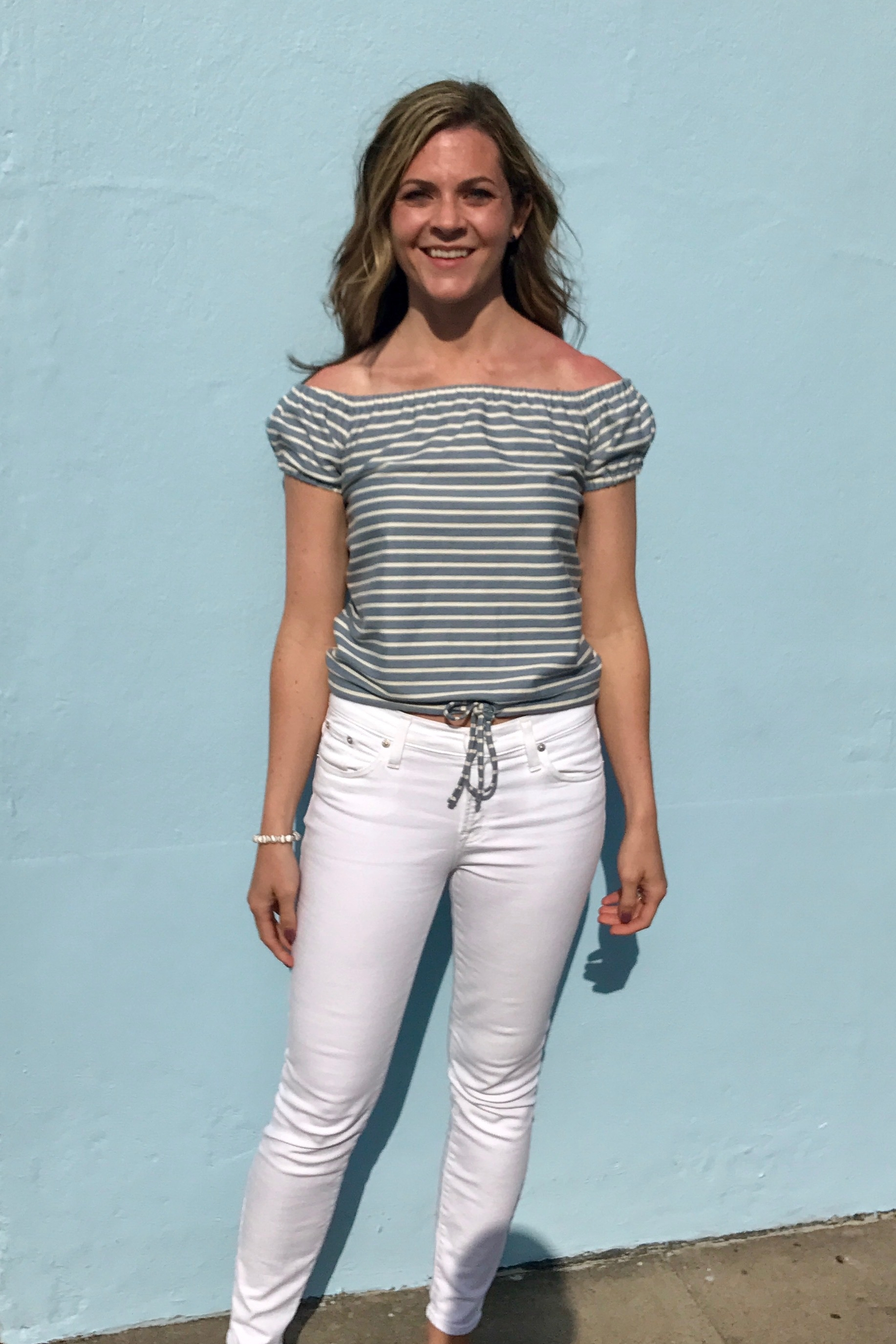 Very sunny evening in Hamilton. I had to get a picture in front of a pastel blue wall.