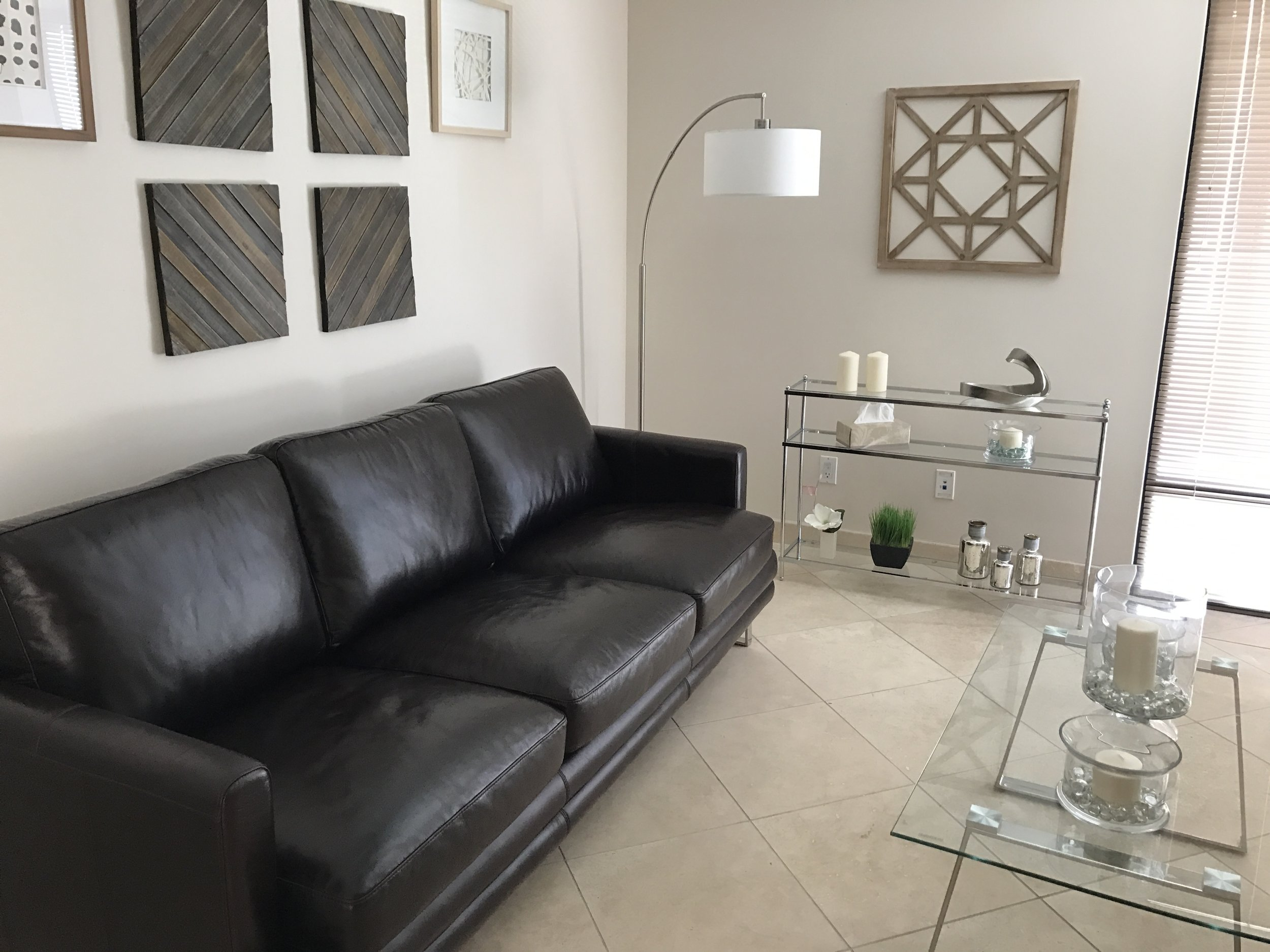 Tucson psychiatrist office couch and glass tables