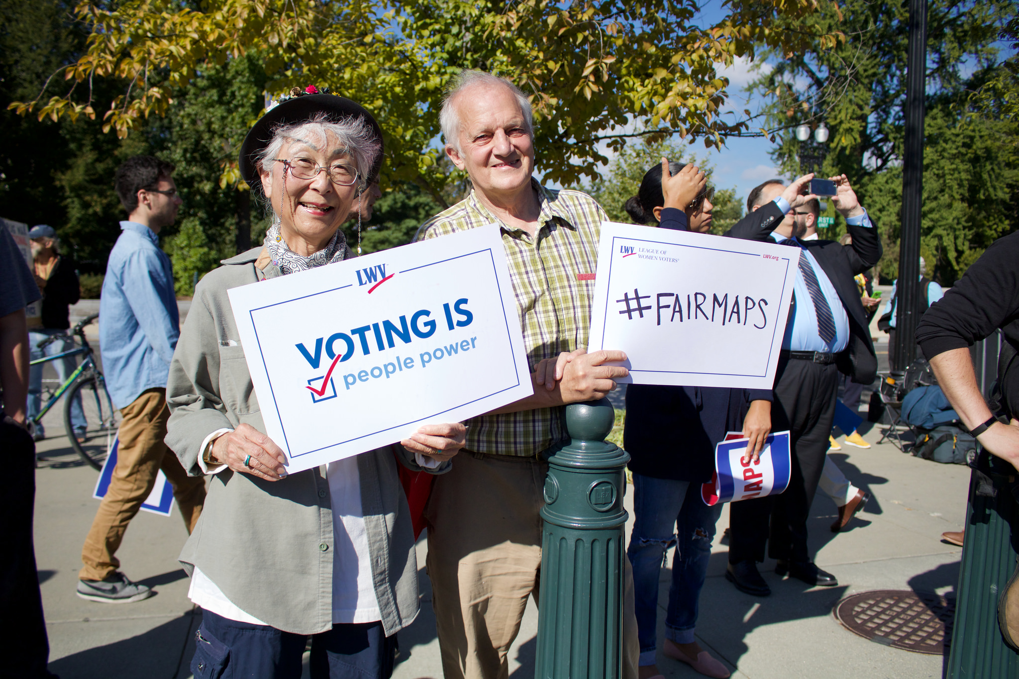 LWV and OneVirginia2021 protest in favor of redistricting reform in front of the US Supreme Court at the Rally to End Partisan Gerrymandering in October, 2017, during the  Watch  the video on C-Span here .  Watch  Arnold Schwarzenegger speak at the rally here .