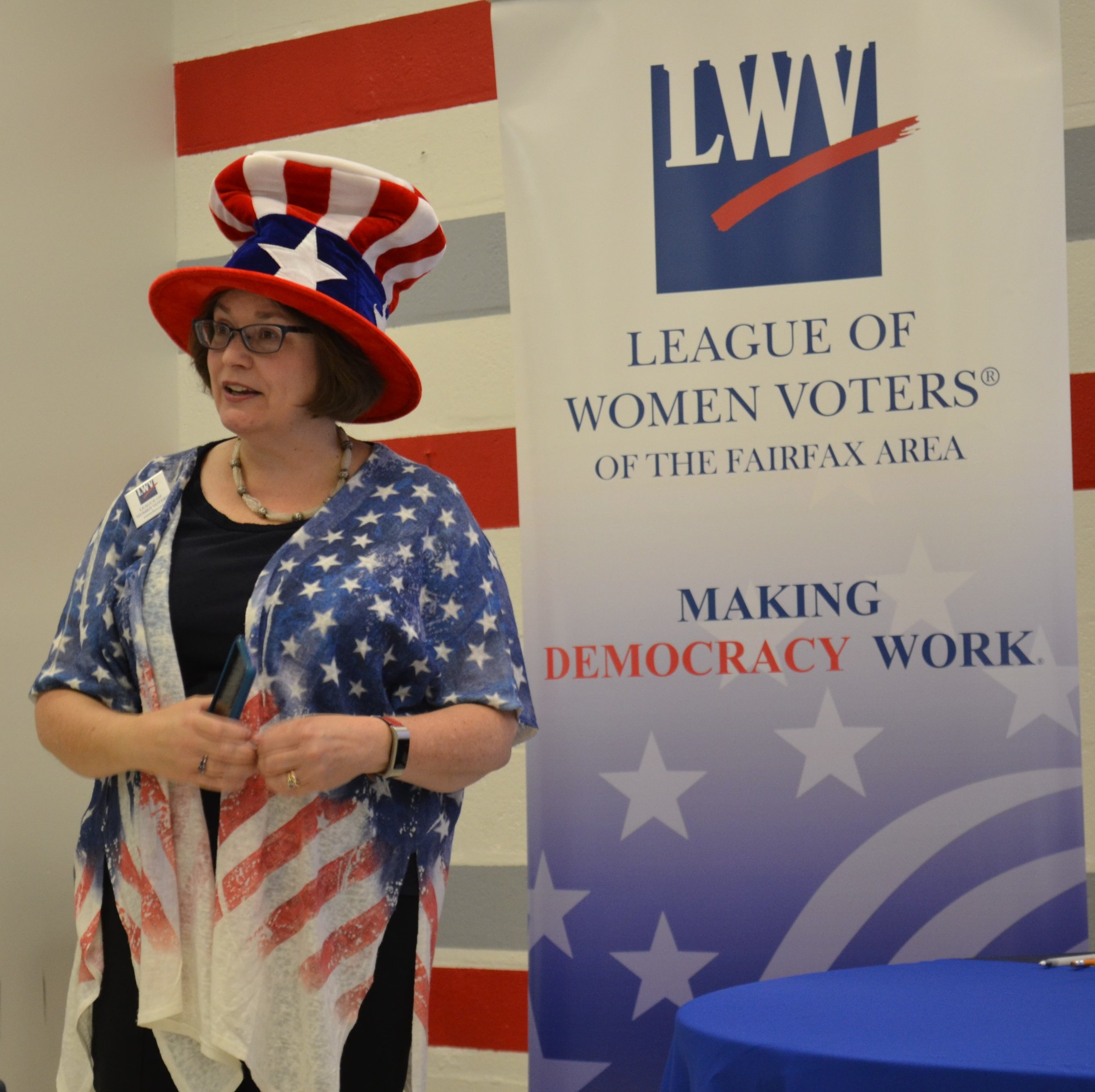Beth Tudan decked out in Uncle Sam Top Hat.jpg