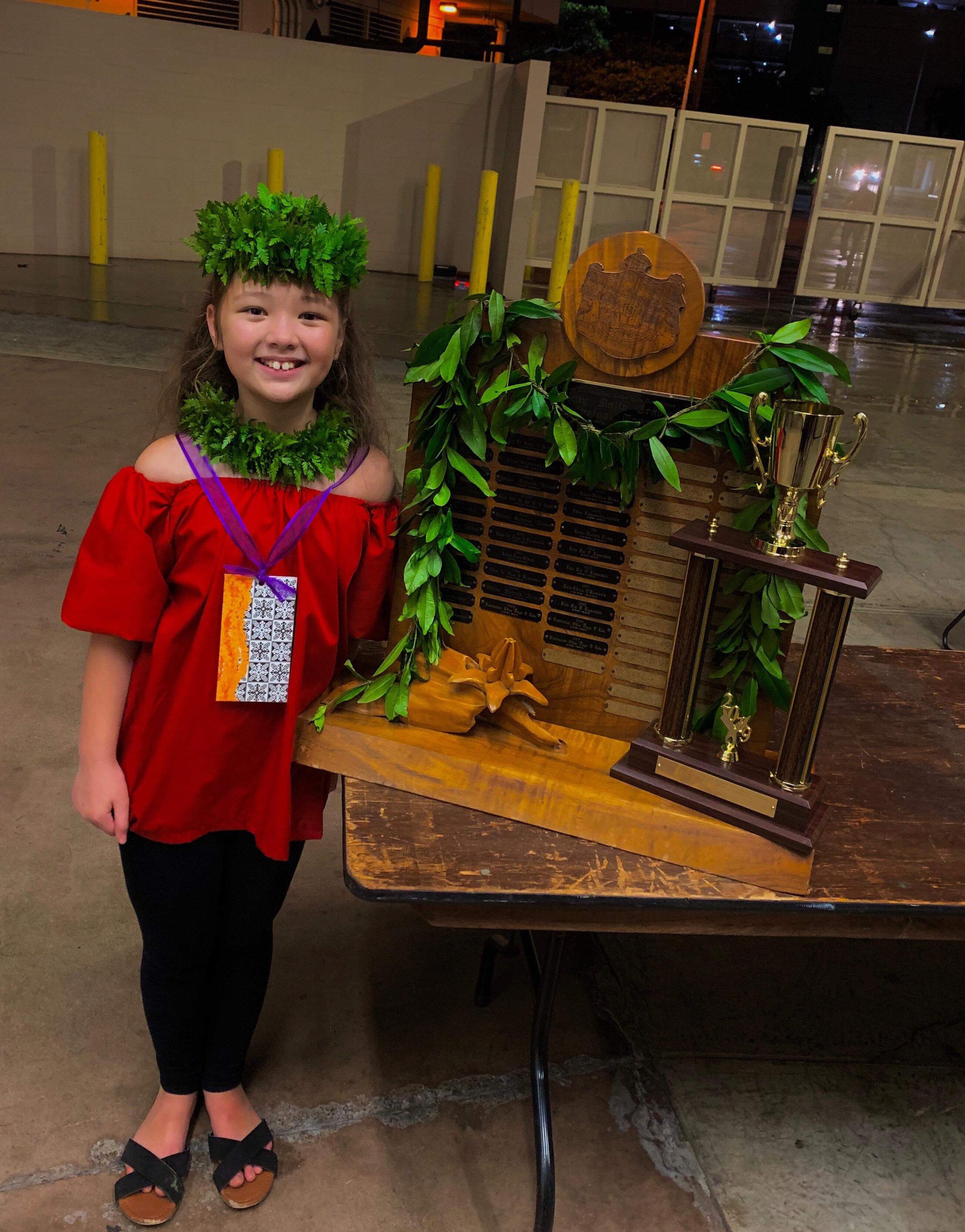 2019 | Malia Craver Perpetual Trophy For Solo Hawaiian Language Award   ulu beasley