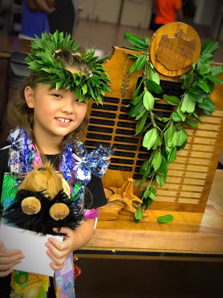 2018 | queen lili'uokalani Keiki Hula competition    Malia Craver Perpetual Trophy For Solo Hawaiian Language Award  ulu beasley