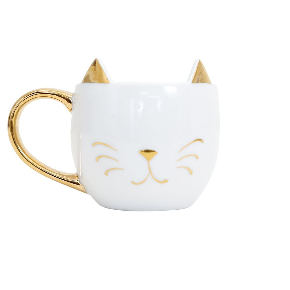 Cat Lover Gold Mug With Ears Lucky Cat Cafe