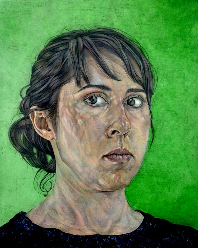 Self-portrait with Green Background | Acrylic on panel | 12x10"