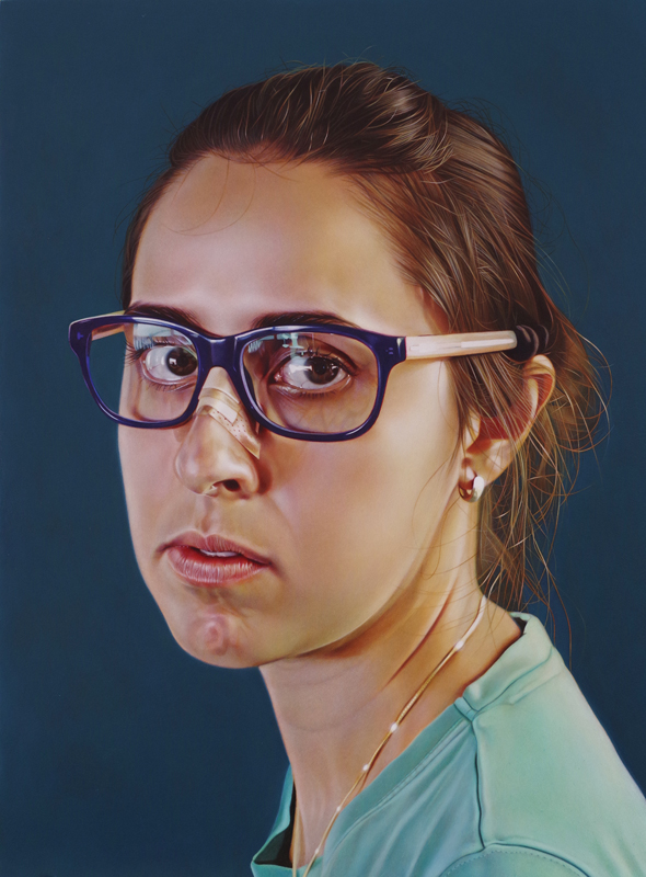 Self-portrait with Borrowed Glasses | Oil on panel | 13x10"