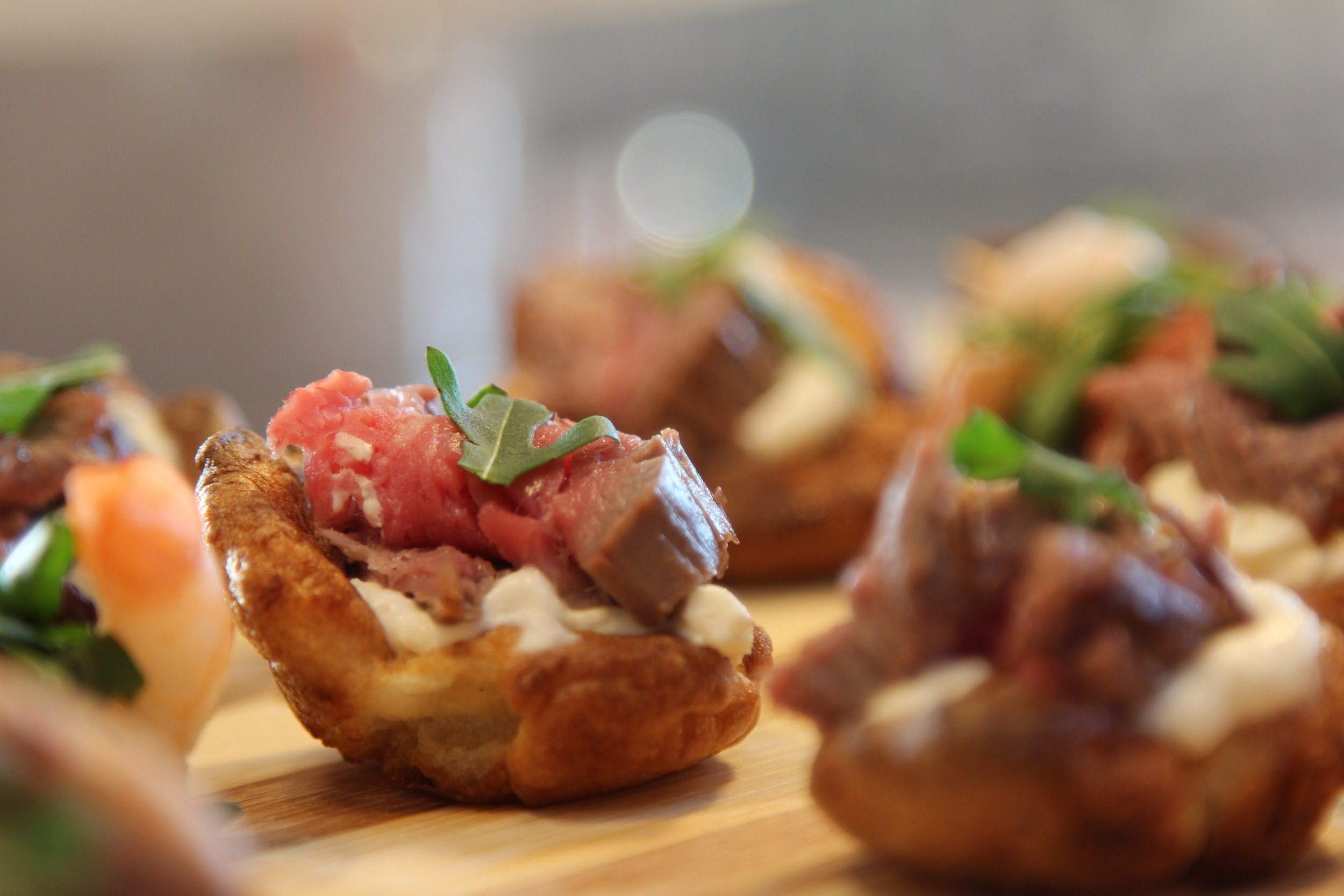 Roast beef and Yorkshire pudding canapé
