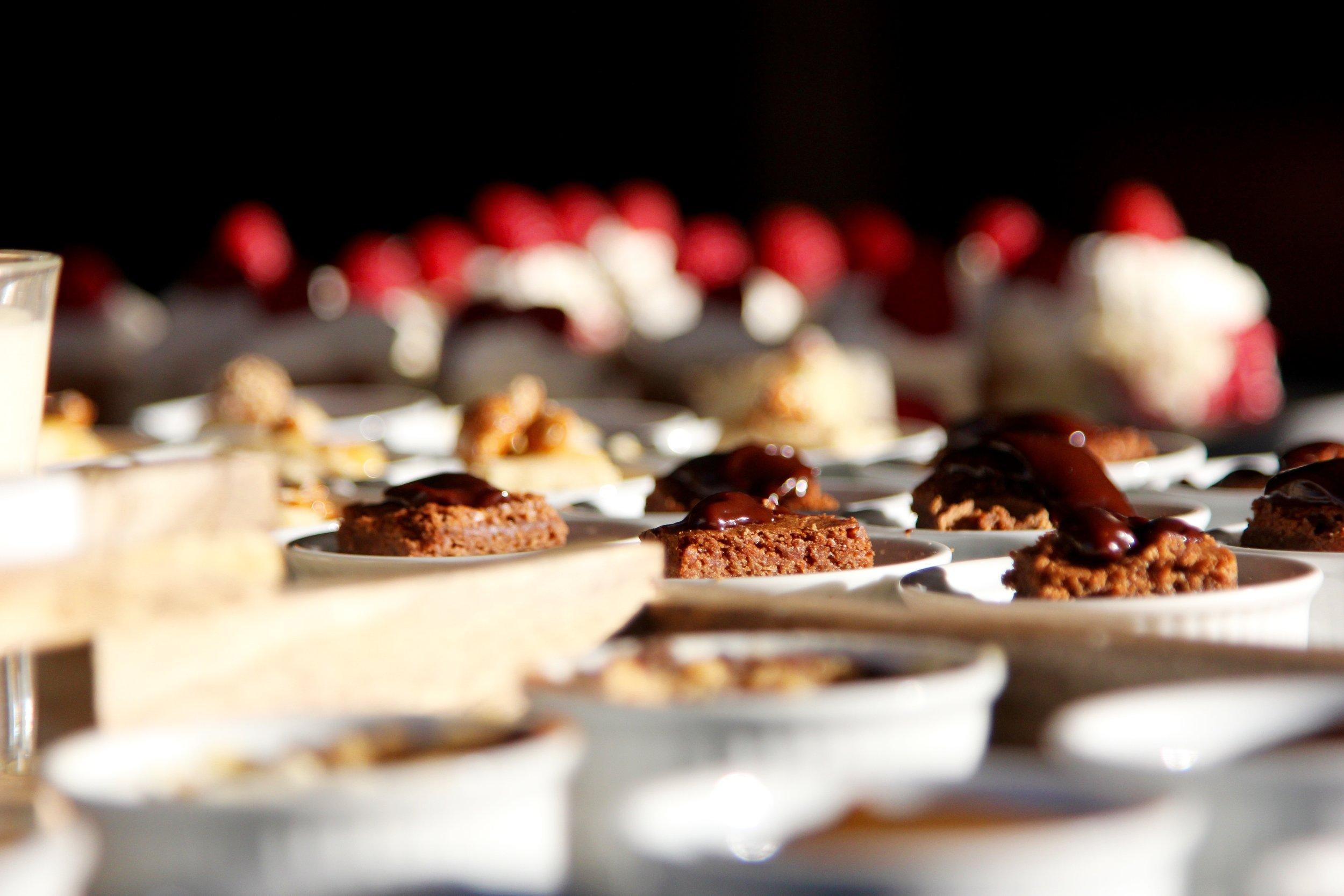 Chocolate brownies with hot chocolate sauce