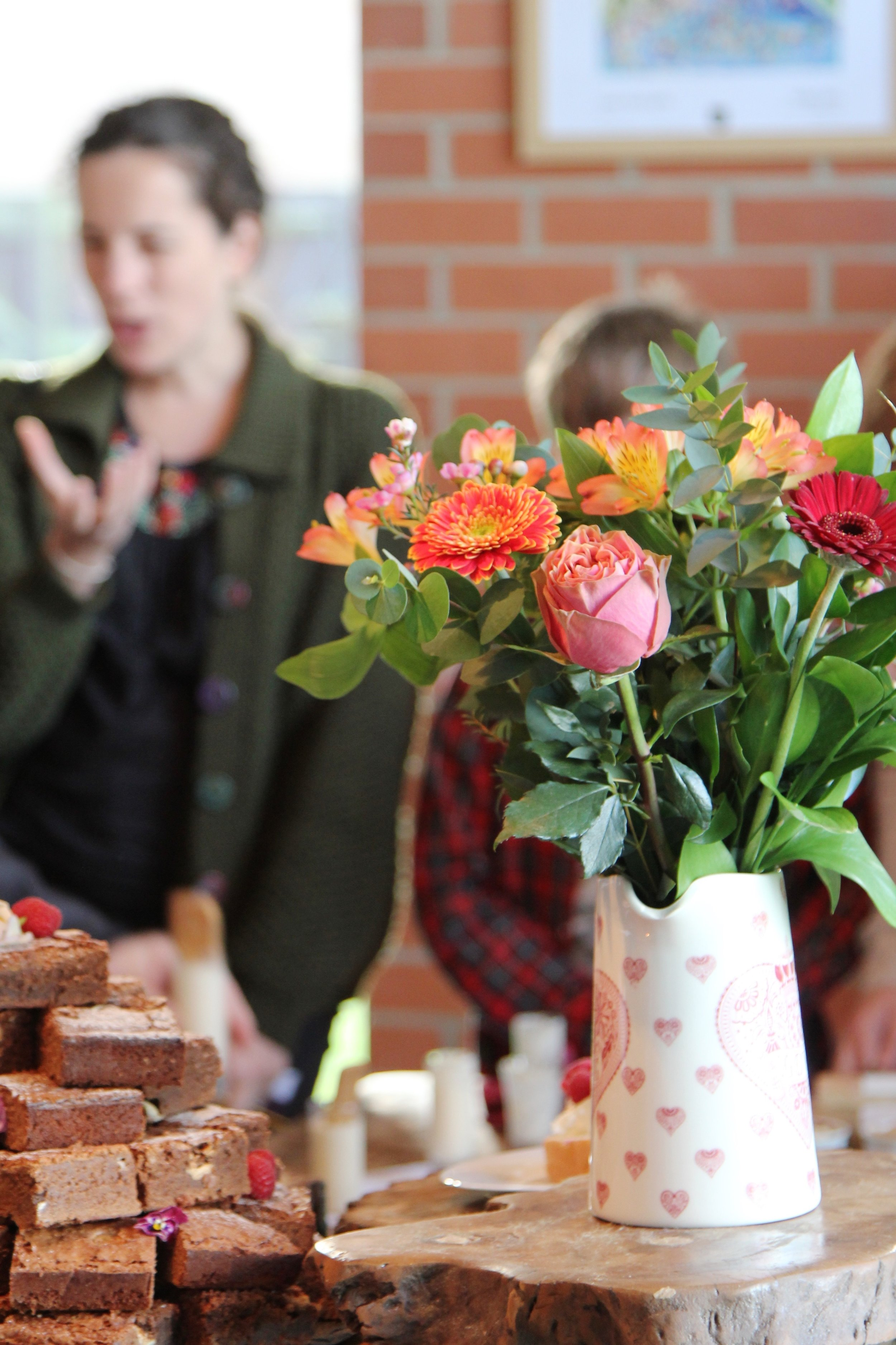 Image of brownie tower and flowers