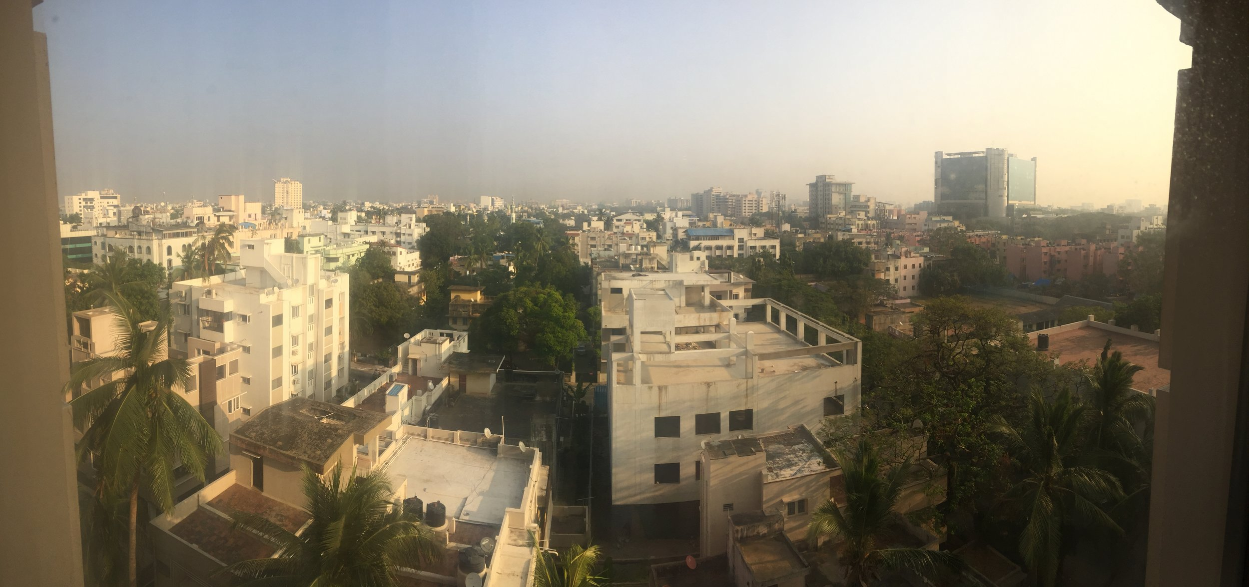 The view from our hotel in Chennai where we arrived early on the 4th day of travel and got to rest a little, showered, ate and yogaed before checking out around noon to head to Mammalapuram.
