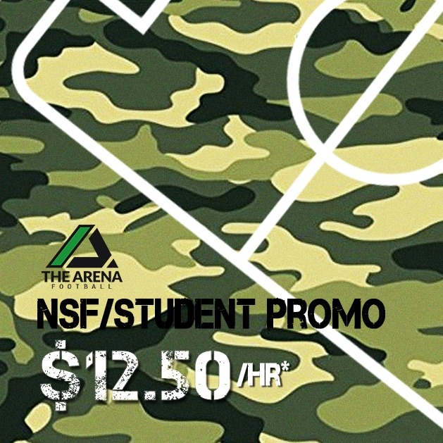 Pays to be a Student/NSF at Arena Football - $12.50/hour* between 9am-5pm weekdays on our5-a-side pitches. Bookings have to be in 2-hourly slotsTerms & Conditions apply