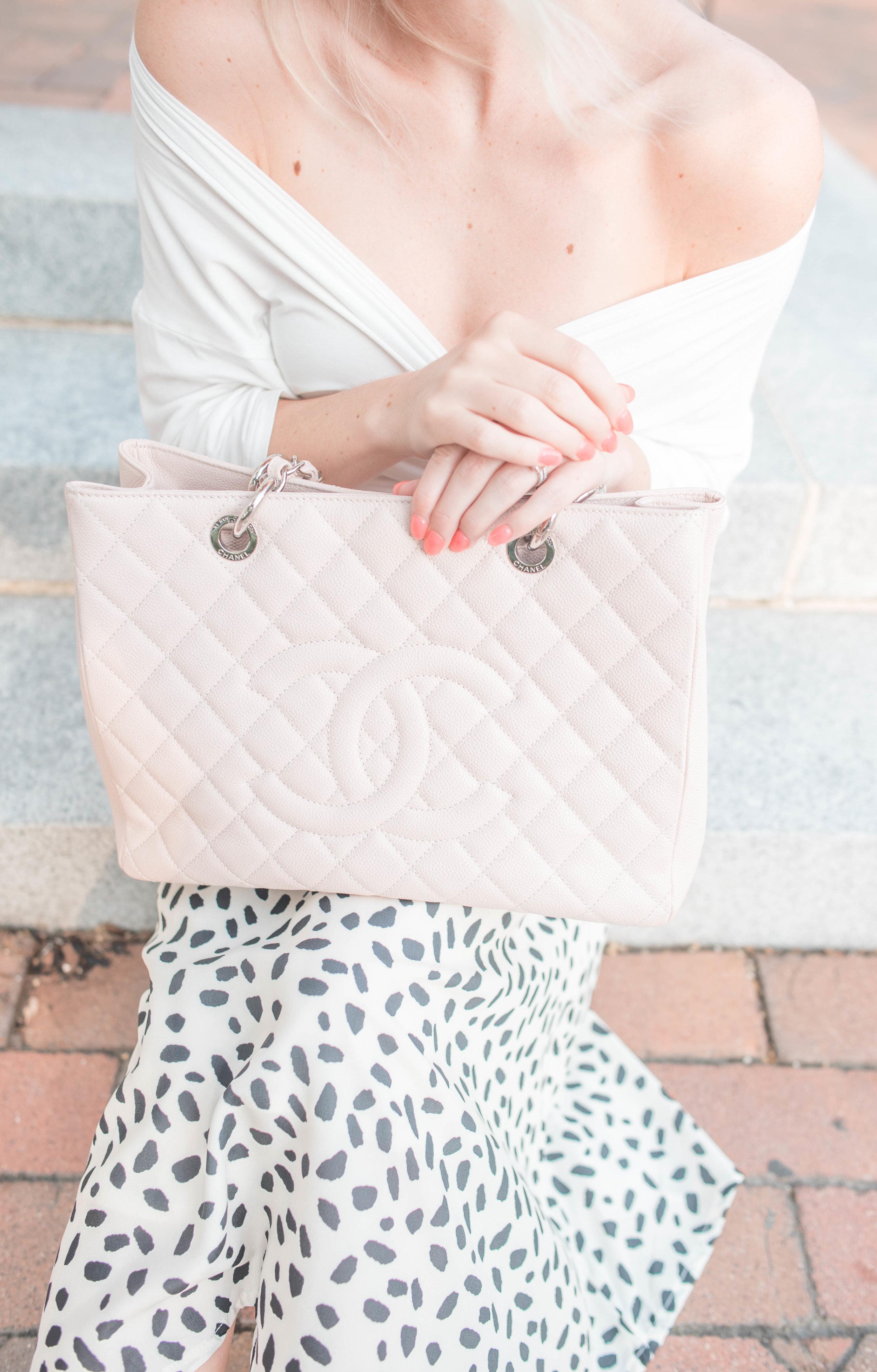 blush pink Chanel purse