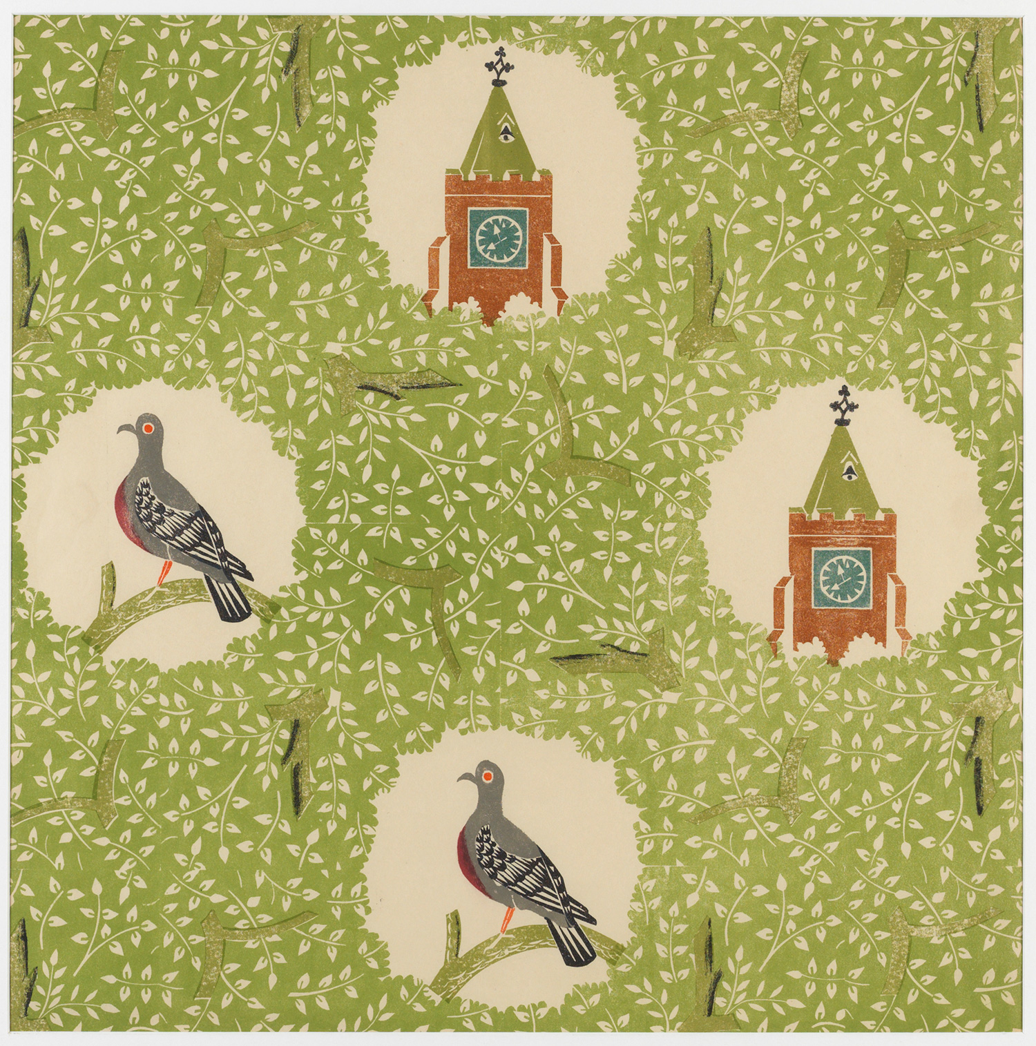 Edward Bawden 'Pigeon and Clock Tower'
