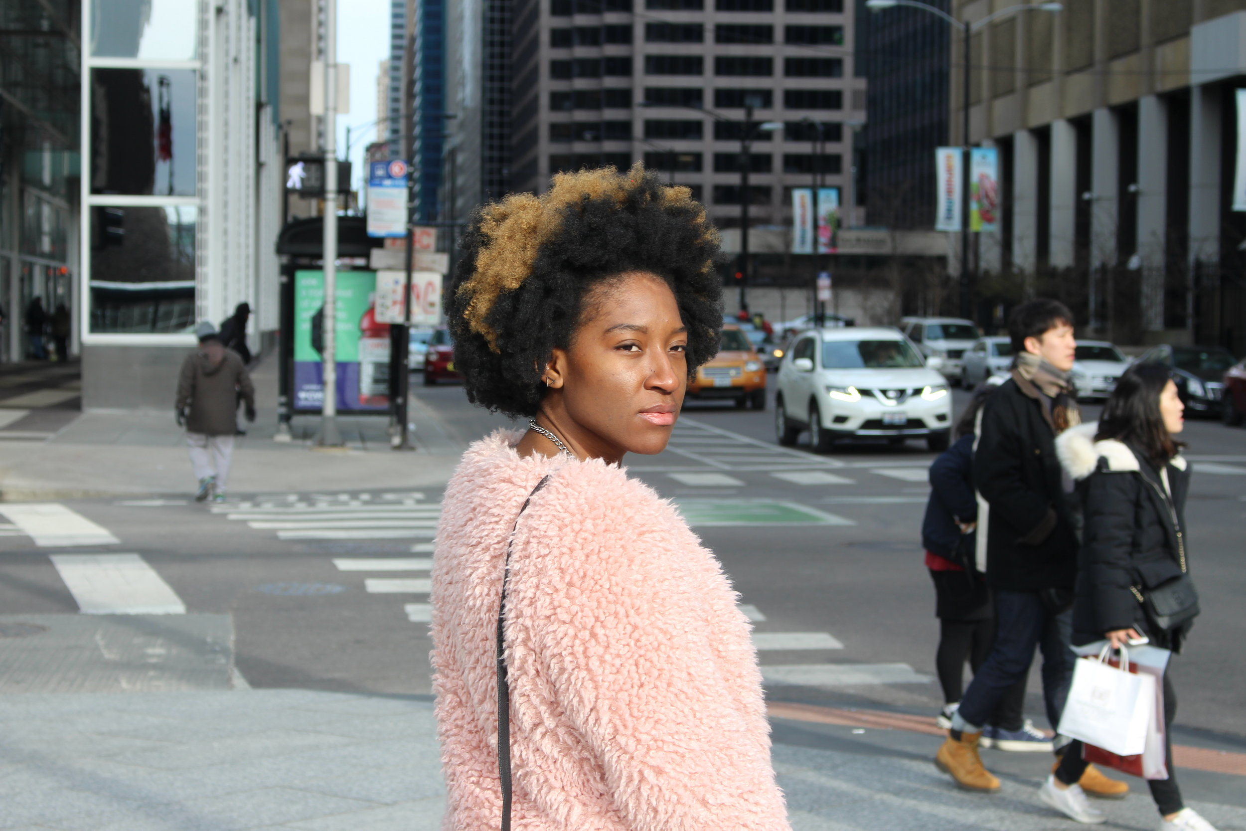 This picture was taken downtown Chicago in March 2017. Excuse the moody face. I was just really cold.