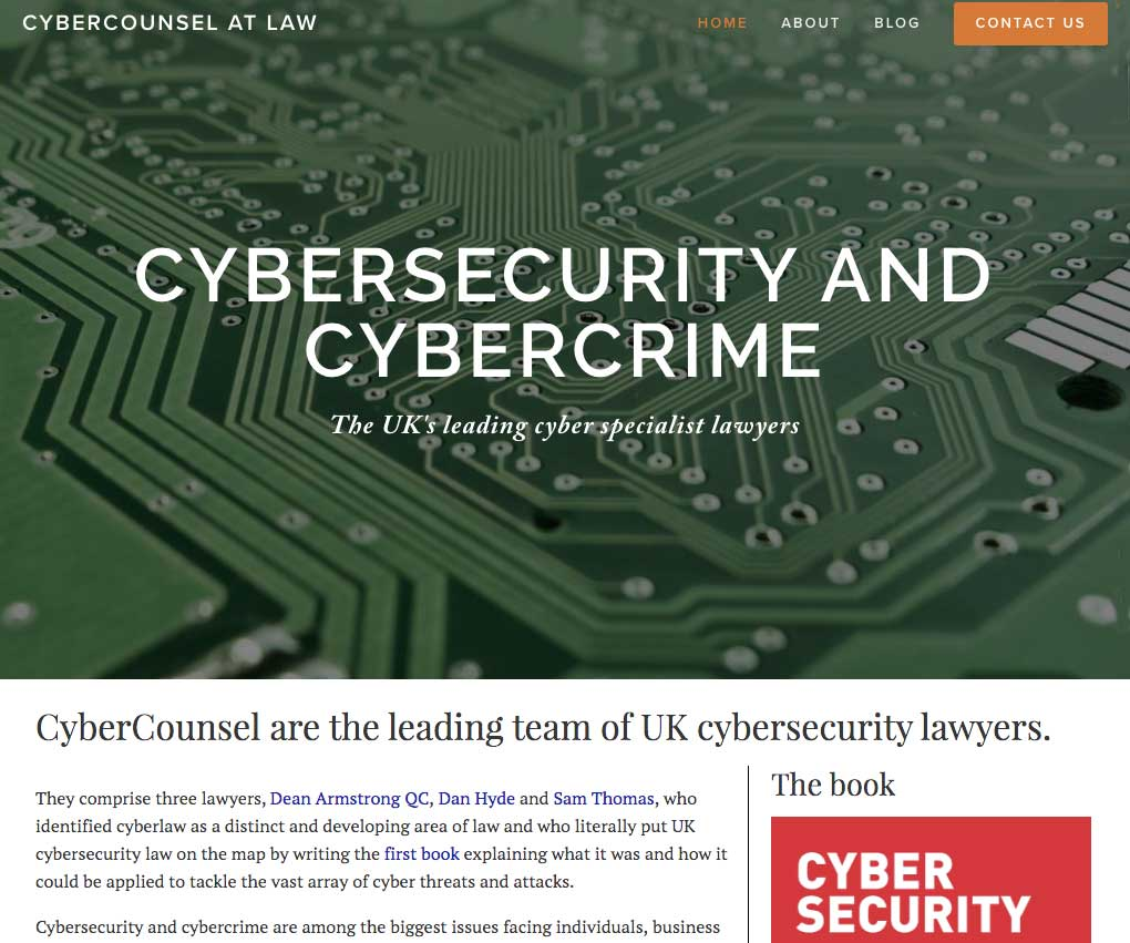 Cyber Counsel At Law - I was engaged to build a new website for three lawyers specialising in cybersecurity and cybercrime, comprising a homepage, blog, About page and contact form.