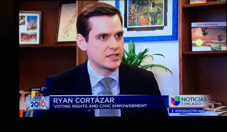 Ryan Cortazar is interviewed by Univison to discuss voter access during the 2016 election.