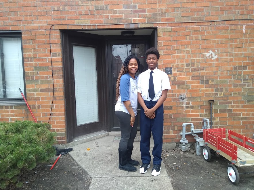 Kejuan Franklin and his mother, Dennisha Franklin, outside their home six months after Kejuan's expulsion.