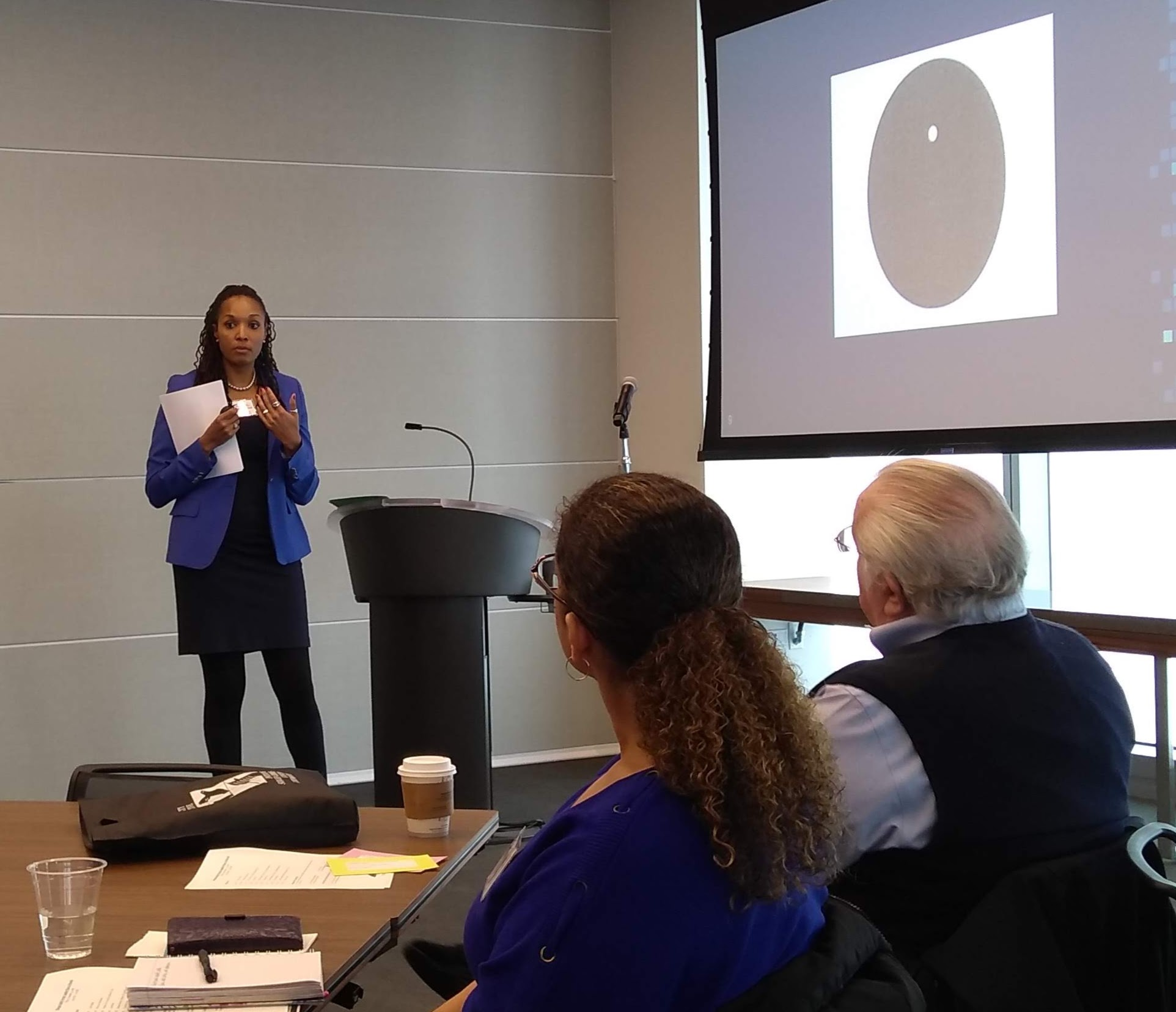 Dr. Chala Holland uses personal narrative, visuals, and key quotations from the literature on implicit bias in her afternoon breakout sessions.