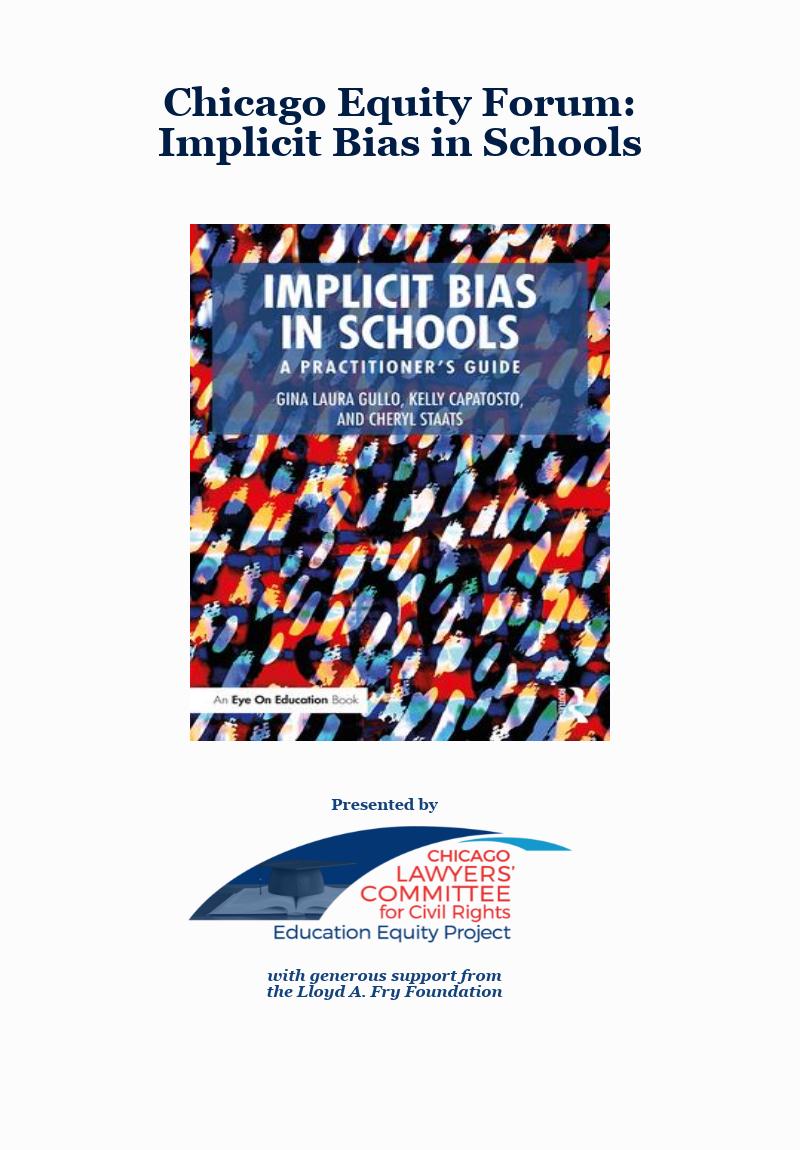 Chicago equity forum - Implicit Bias in Schools