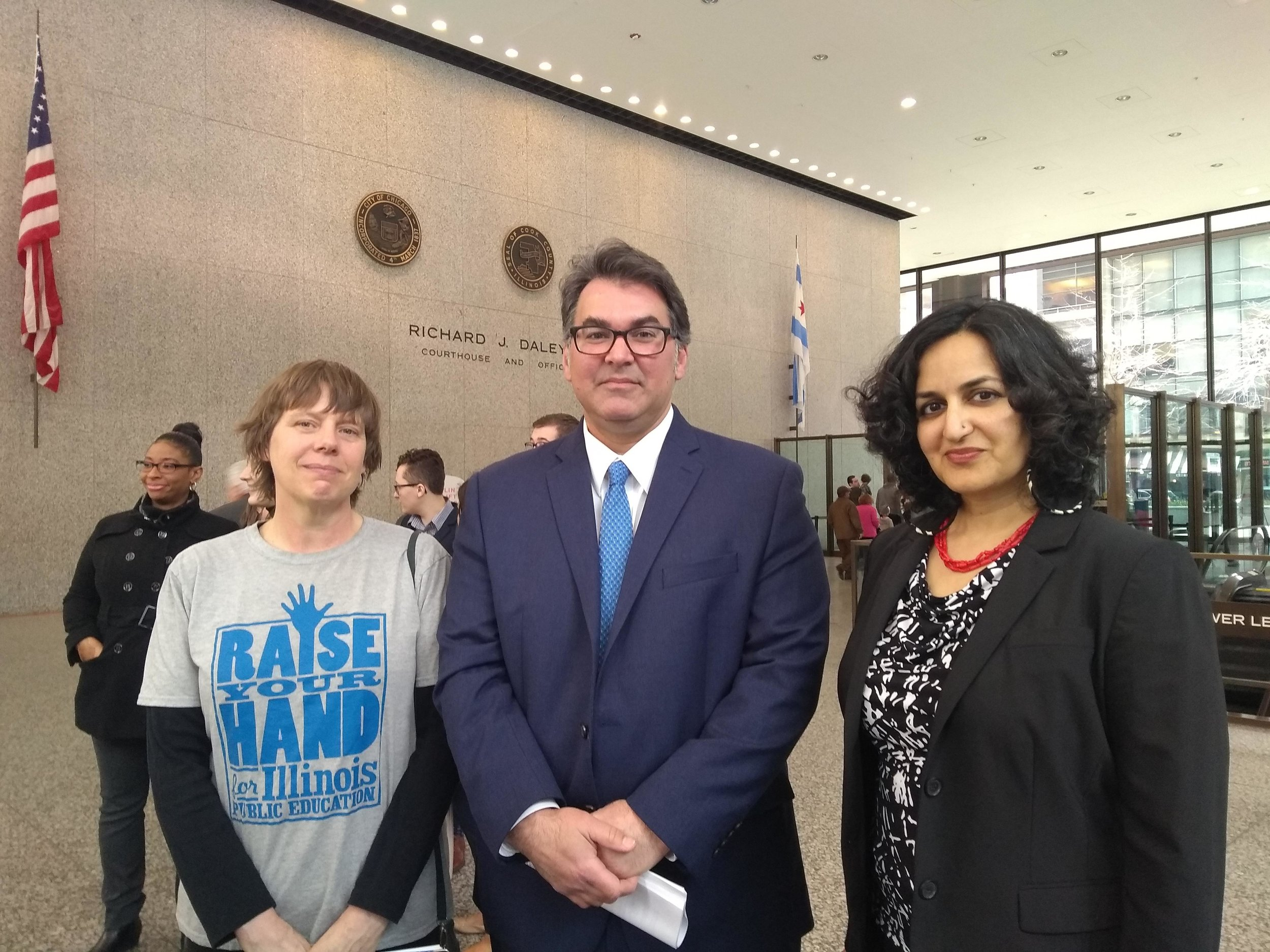 Left to right: Joy Clendenning of Raise Your Hand, Aneel Chablani of Chicago Lawyers' Committee, and Amisha Patel of Grassroots Collaborative on the morning of the lawsuit's court filing.