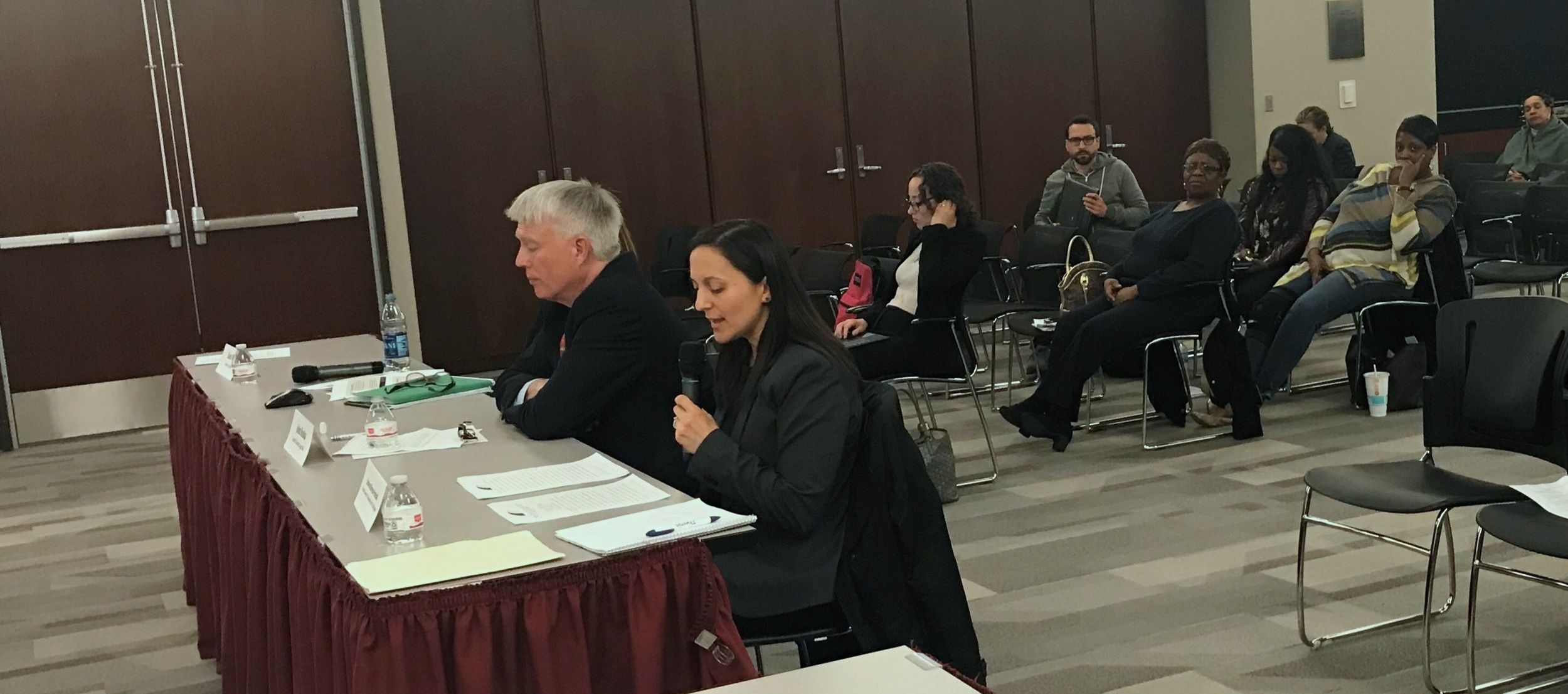 Senior Staff Attorney Barbara Barreno-Paschall delivers testimony before the U.S. Civil Rights Commission's Illinois Advisory Committee.