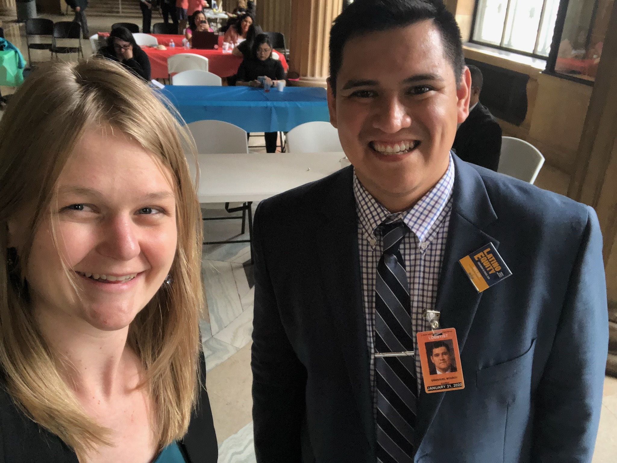 Attorneys Jenny Terrell of Chicago Lawyers' Committee and Steven Monroy of MALDEF in Springfield.