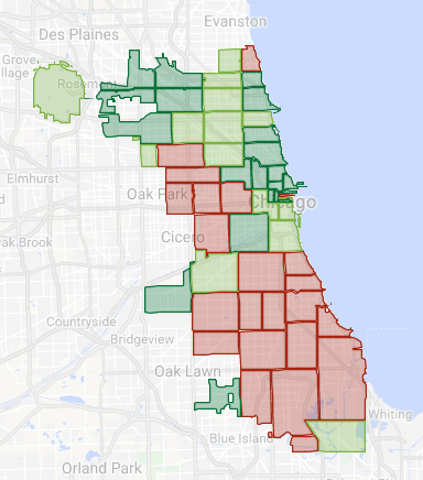 Map of Chicago with credit health shaded by ZIP code. Dark green is the highest credit, and red is the lowest.