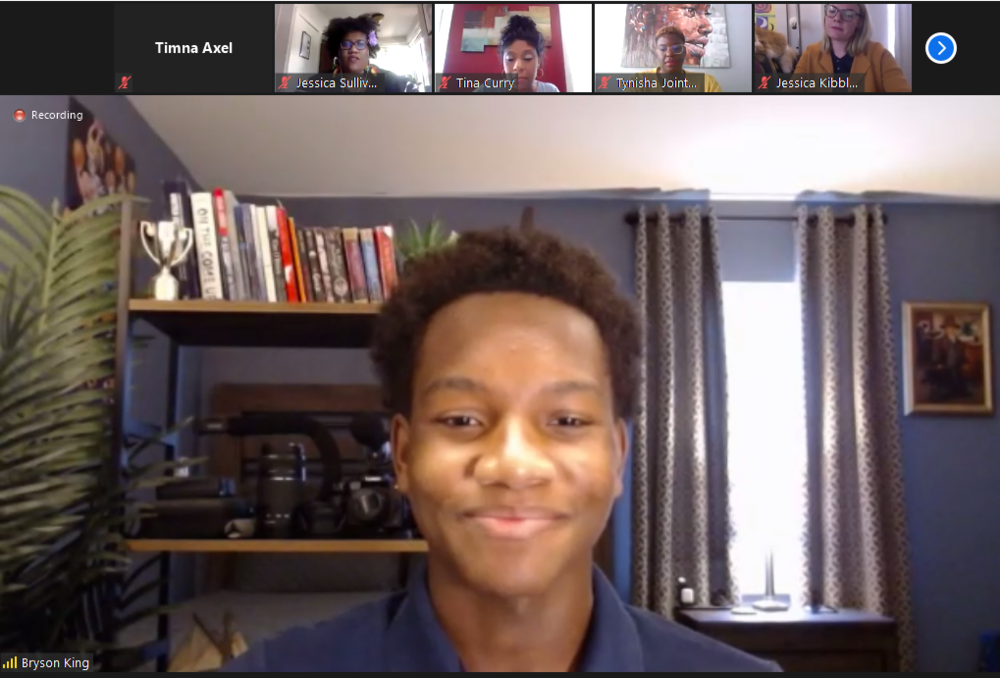 Bryson King of Warren Township High School speaks on a panel about racial equity and allyship as part of a virtual convening organized by the Transforming School Discipline Collaborative (TSDC).