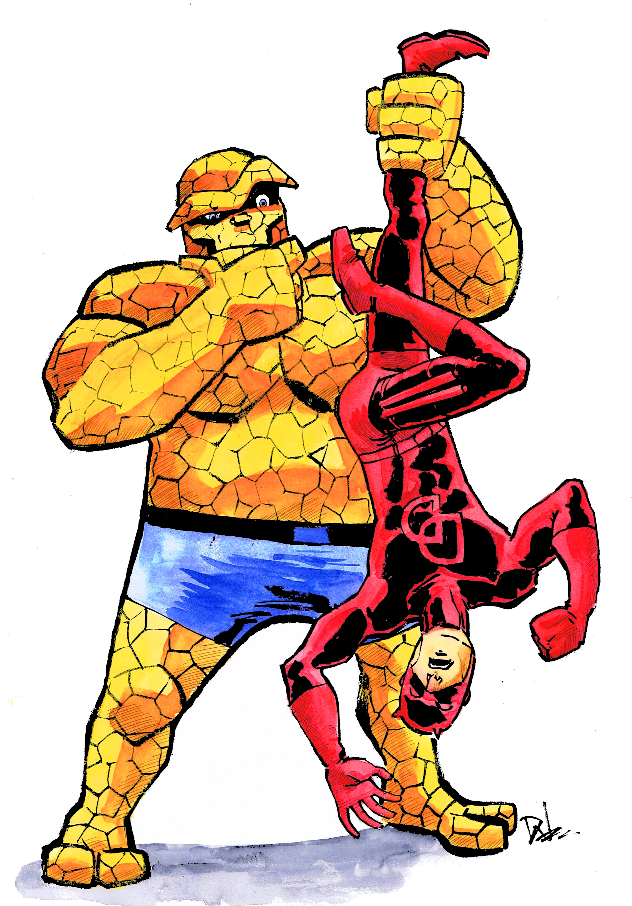 Daredevil and The Thing, art by David Wynne