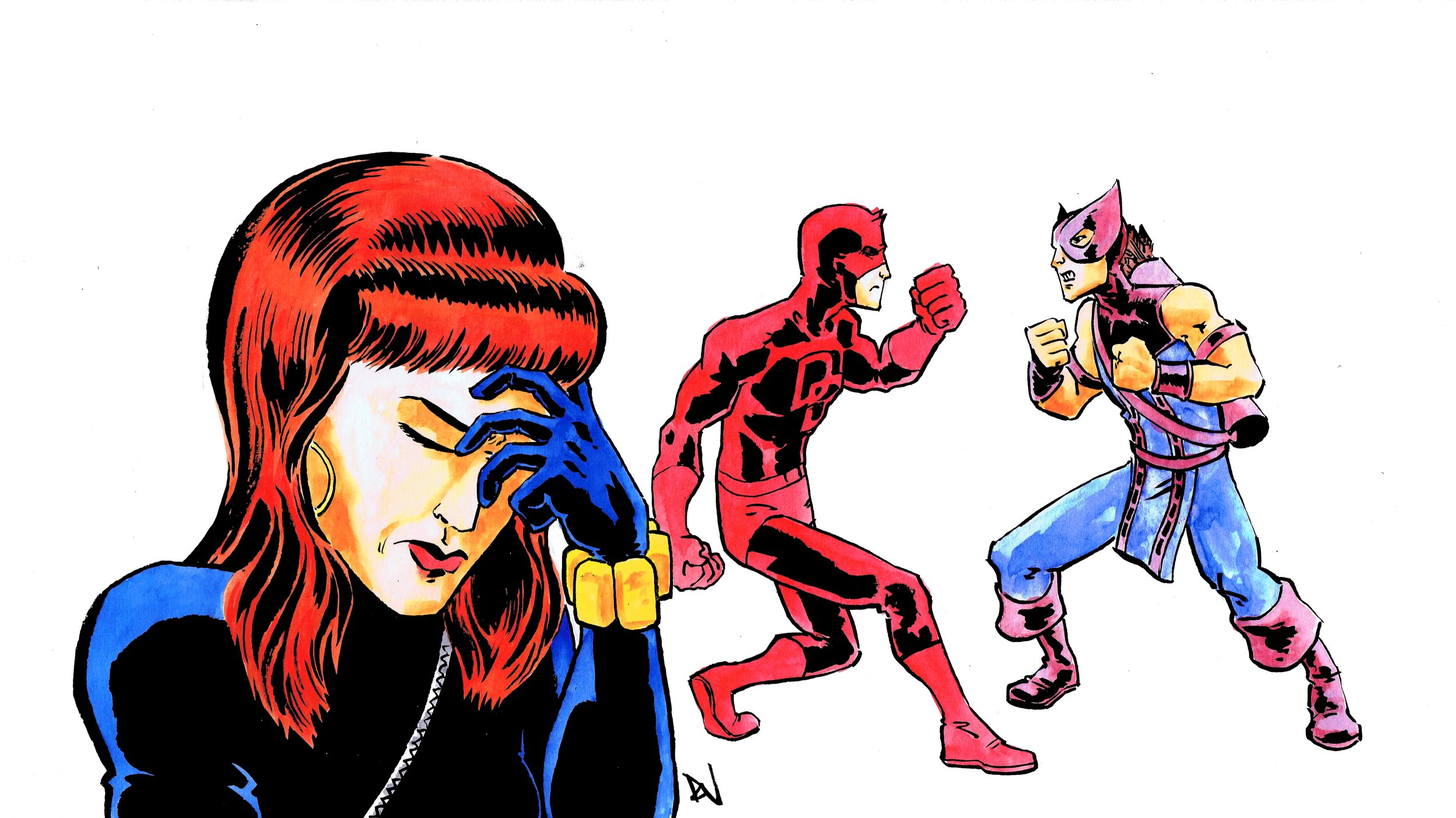 DD and Hawkeye fight for…no reason? Art by David Wynne