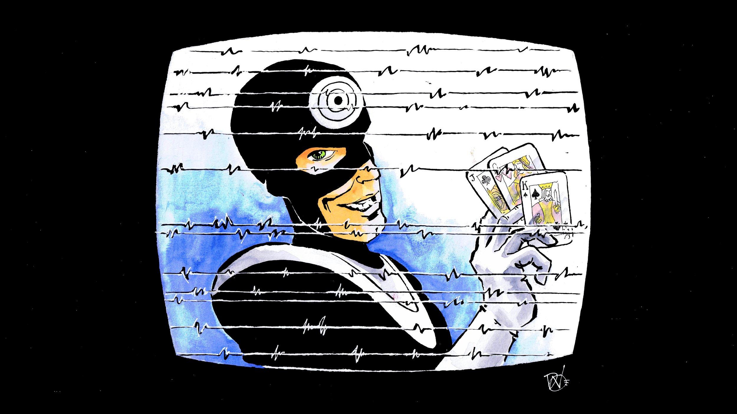 Super, Smashing, Great - Bullseye comes after DD again - art by David Wynne
