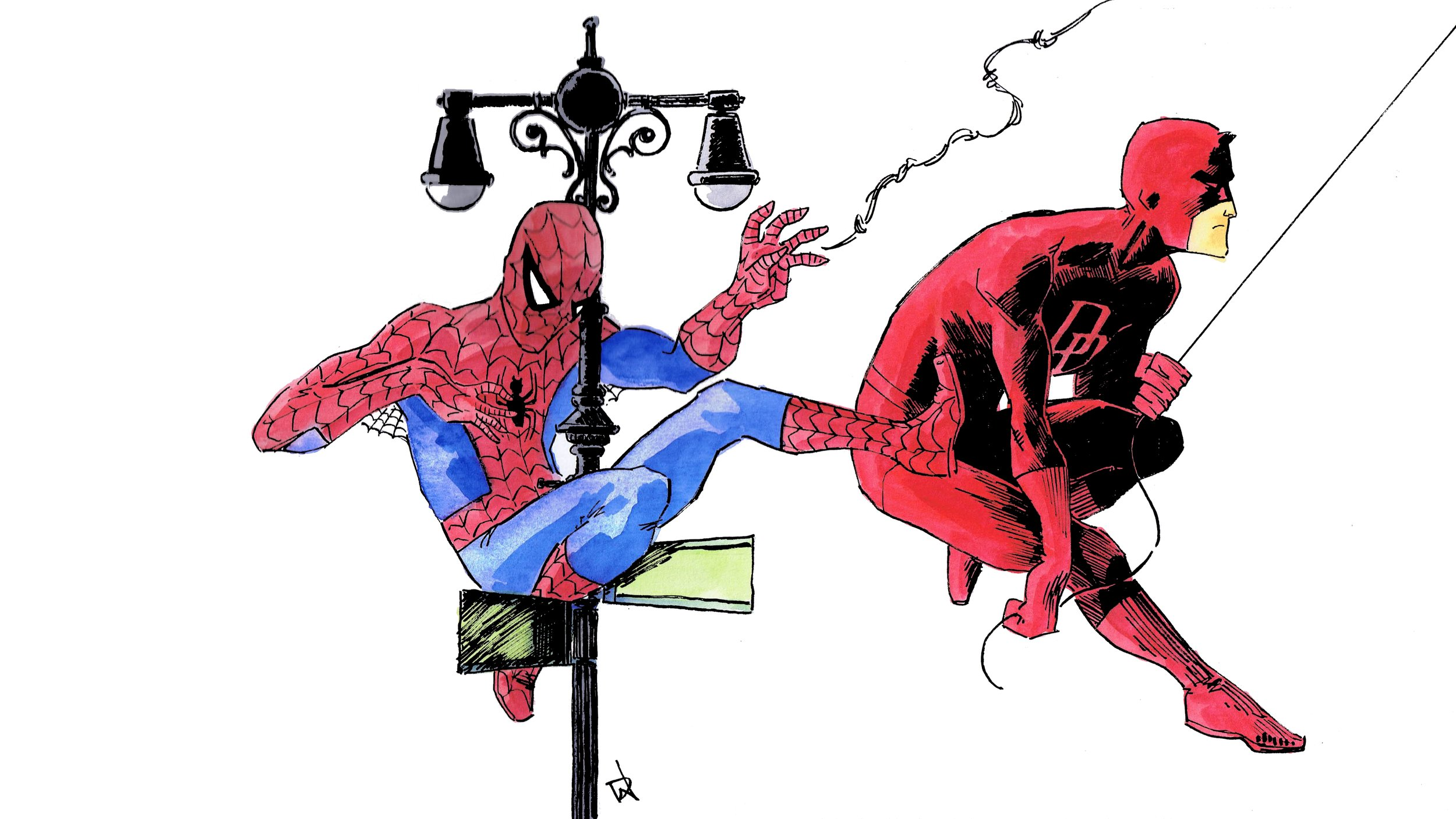 Spider-Man! Look out for the…oooh, never mind. Art by David Wynne