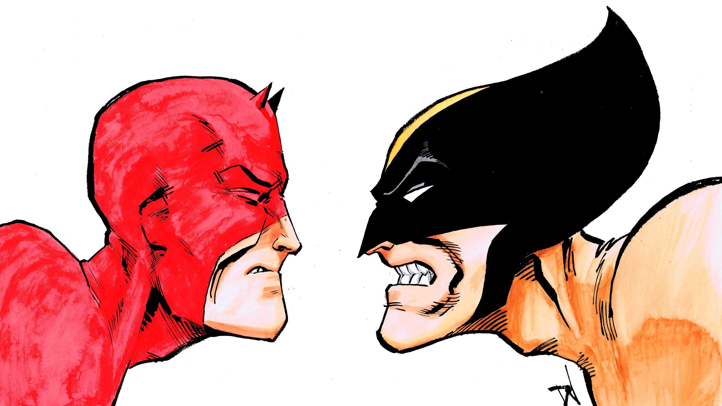 Listen up, bub! DD and Wolverine, art by David Wynne
