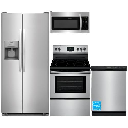 FRIGIDAIRE Stainless Steel Complete Kitchen Package    •FFSS2615TS  Side by Side Refrigerator   •FFEF3052TS  Electric Range   •FFMV1645TS  Over the Range Microwave   •FFBD2406NS  Built In Dishwasher    Sale Price: $ 2025.00 +Tax