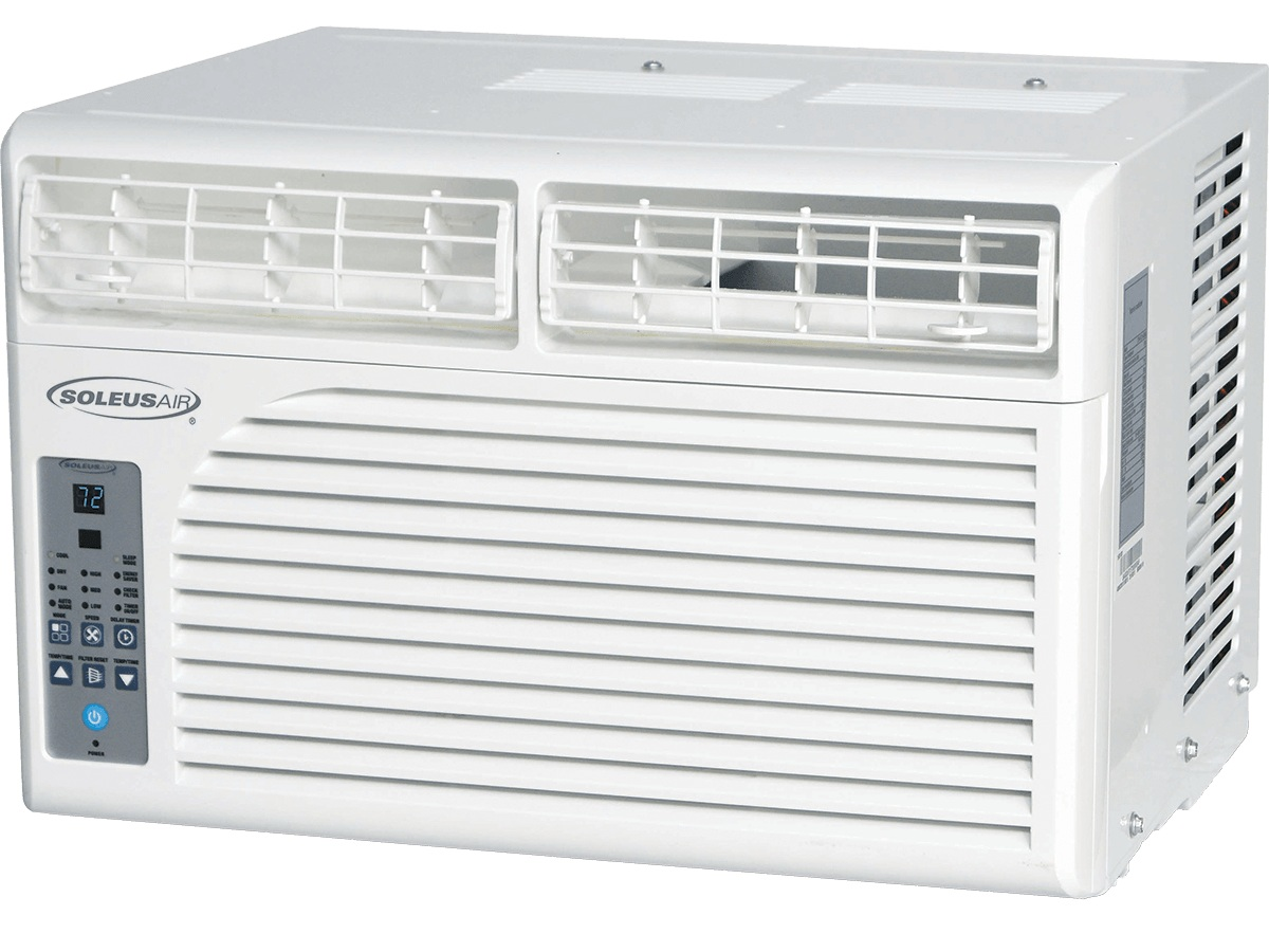 """Soleus 12,000 BTU Window Air Conditioner 110 Volts Open Box Like New - Price: $ 220.00Dimension: 19.00"""" W x 14.30"""" H x 21.50"""" DRoom Size: 450 - 550 Sq. Ft.1 Year Limited Manufacturer WarrantyAvailability: In Stock"""