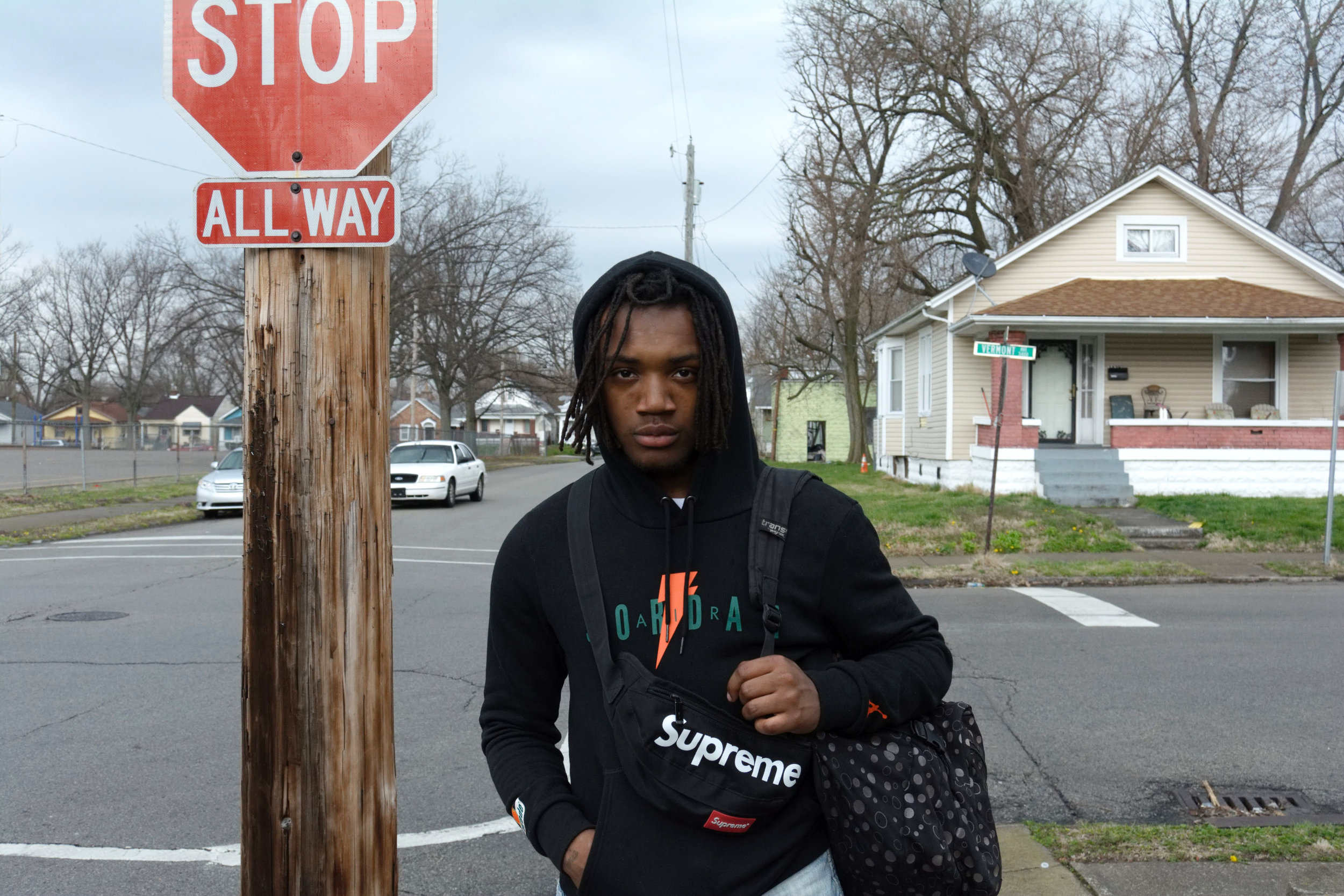"""""""I feel like Louisville can be a positive place for music for any musician in the world. It's really hard for people who are really good at it to be behind the people who are really dump at it and making it. It's really hard for people like me, who are lyricist. So, when it comes to me, as a person, I make sure to follow everybody's music. I don't down anybody for nothing. I may give you tips here and there to help make your music better, but at the same time, I just like to tell them to keep working at it and keep doing them. All of my people's are musicians, we all do music all day. I think that if you're going to be a musician, learn the background, no matter what genre. I listen to every single genre, I don't leave one out. It's not a passion, if you're just coming out of nowhere, thinking that you're going to get rich off of that. It's not like that! You can't get rich off knowing something, you have to understand the mentality, putting in work and making it something that you want to create. That's the way I envision it. I just don't understand those that say, out the blue, 'Oh, I want to be rapper!'. That's one of our problems. That's why we can't make it in the big leagues. Only record labels are going to choose a few people.  I've been doing this since I was 7 years old. I rap. It's not all the cussing and the negative, I like to bring some positivity. I don't like rapping about all of the shooting and the guns. I'm not gonna lie, sometimes I do bring it up. At the same time, there are songs where I express my feelings and I use metaphors. I don't know if you heard of XXXtentacion, but that's my inspiration. Before him, I didn't have a rapper that inspired me.  I'm most creative when I'm by myself. I can't have nobody around me. I love to perform around a lot of people but when I'm creating, I'm best by myself. I keep a lot of people out of my music and just drop it and then they mess with this.  I think that the West End needs more studios and places to ma"""